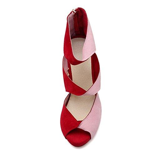 COOLCEPT Mujer Moda Sin Cordones Sandalias Peep Toe Tacon Aguja Zapatos With Cremallera Rojo