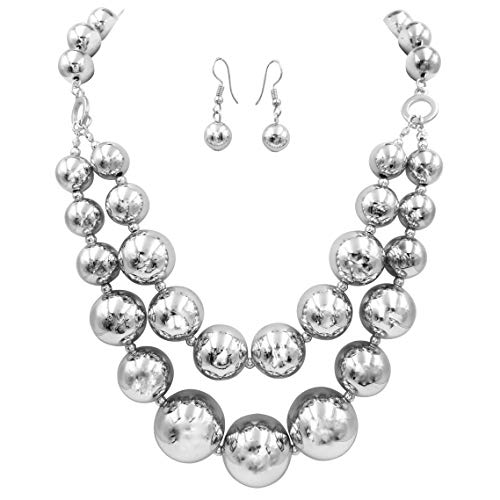 Gypsy Jewels 2 Row Chunky Beads Statement Necklace & Dangle Earrings Set (Silver ()