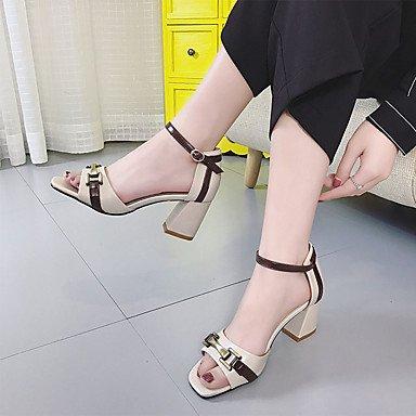 LvYuan Mujer Sandalias PU Verano Paseo Hebilla Tacón Robusto Beige Morrón Oscuro 2'5 - 4'5 cms beige