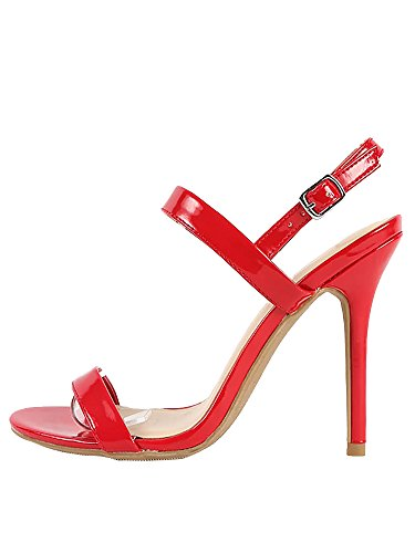 Patent Leather Ankle Strap (Wild Diva Lounge Adele Slingback Ankle StrapStiletto High Heel Shoe Sandals (7, Red))