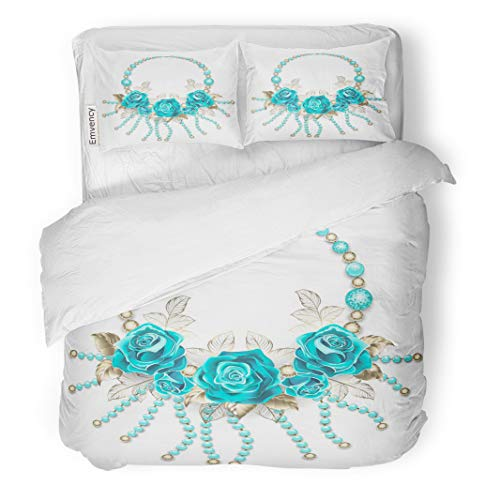 Semtomn Decor Duvet Cover Set King Size Necklace of Turquoise Roses White Gold Leafs and Beads 3 Piece Brushed Microfiber Fabric Print Bedding Set Cover ()