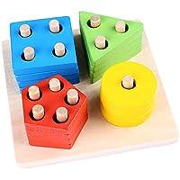 مكعبات تصنيف خشبية تعليمية للاشكال الهندسية، احجية مونتسوري للاطفال، مكعبات بناء تعليمية للاطفال