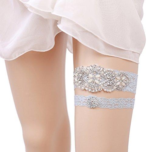OURIZE Wedding Lace Garter for Bridal Rhinestones Garter Belt -