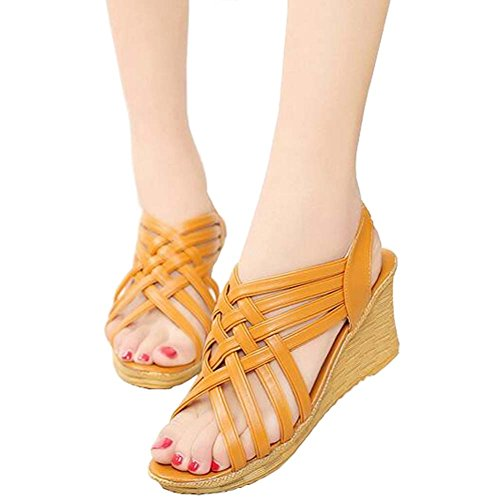 Wedges Summer Toe Hollow Out Bandage Brown Sandals ANDAY Peep Ladies Platform WAnc4RB18