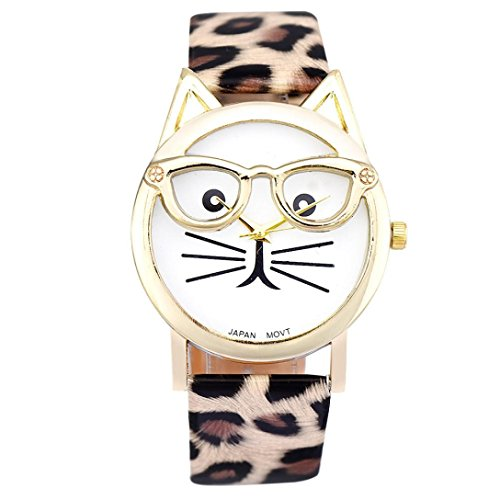 Leoy88 Lovely Glasses Cat Women PU Leather Belt Quartz Dial Wrist Watch