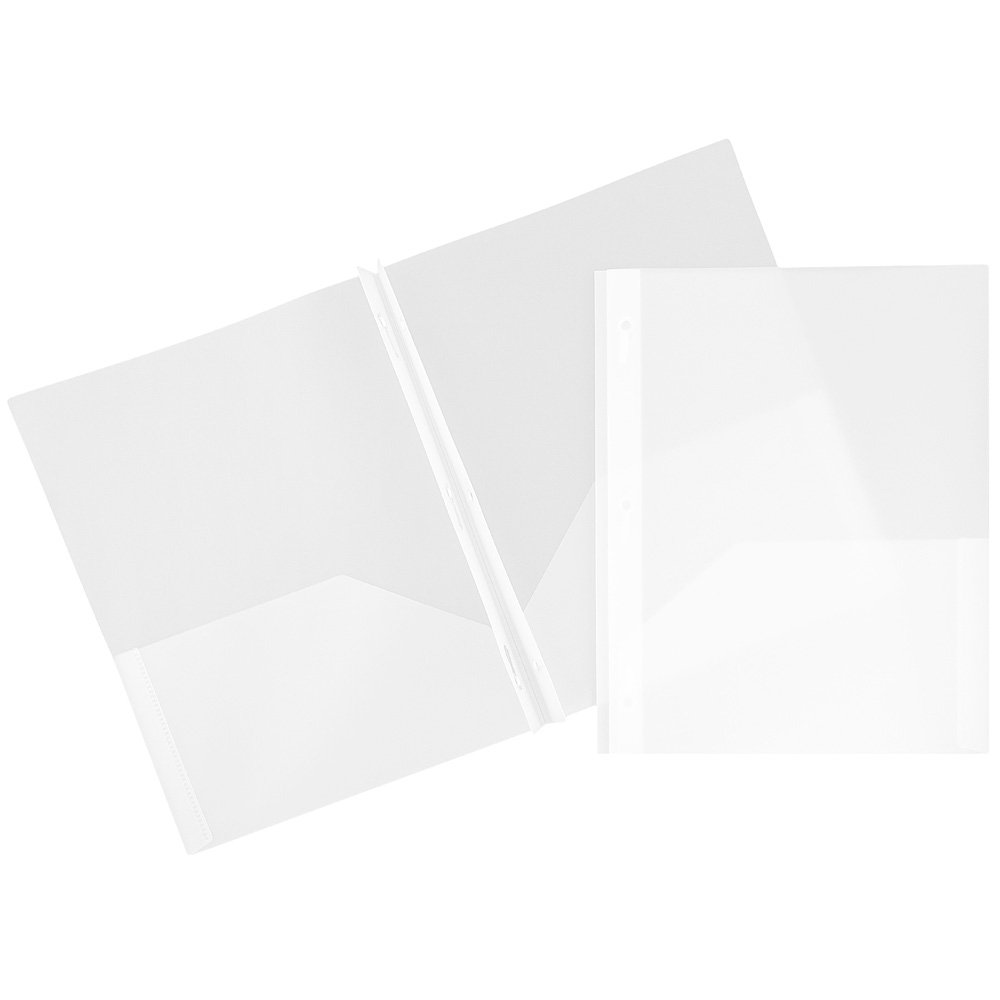 JAM Paper Plastic Eco Two Pocket Presentation Folder with Clasps - Clear - 96/pack