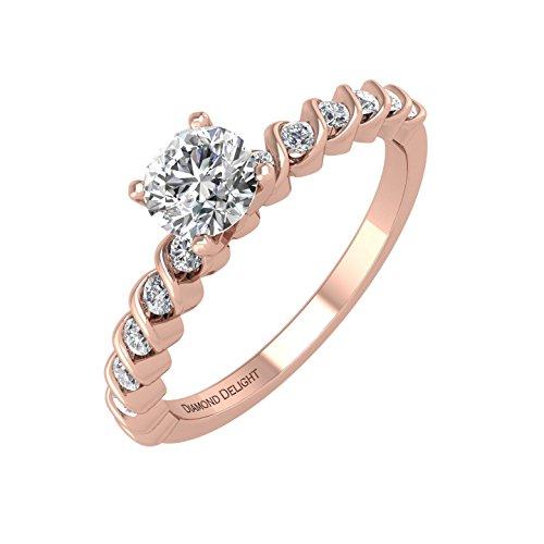 [IGI Certified 10k Rose Gold Prong Set Wedding/Anniversary Diamond Band Ring (1/3 Carat)] (Certified Diamond Band Ring)