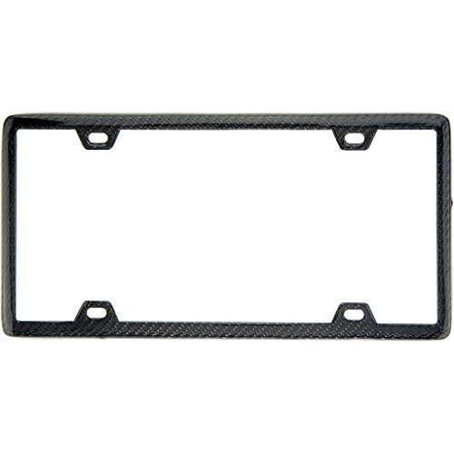 Carbon Fiber License Plate Frame (100% Real Black Carbon Fiber License Plate Frame Slim 4 Holes With Matching Screw Caps - 1 Frame)