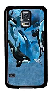 Samsung Galaxy S5 Case and Cover -Orca Whale Collage Polycarbonate Hard Case Back Cover for Samsung S5/Samsung Galaxy S5 Black