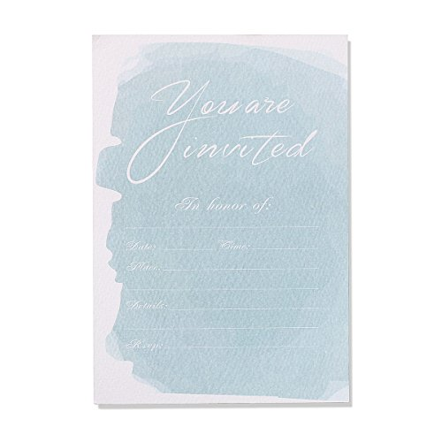 30 Fill-In Invitations with Envelopes, Blue Watercolor Wedding Invitation Cards, Simple Bridal Shower, Baby Shower, Reception, Rehearsal Dinner, Birthday Invites