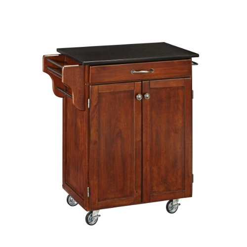 (Create-a-Cart Cherry 2 Door Cabinet Kitchen Cart with Black Granite Top by Home Styles)