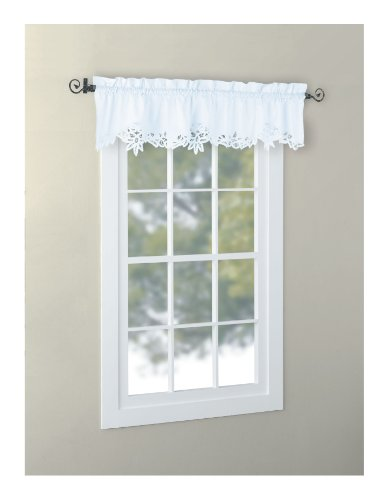 CaliTime Battenburg Lace Kitchen Curtain Valance Swags Tiers (White, 14' L Valance)
