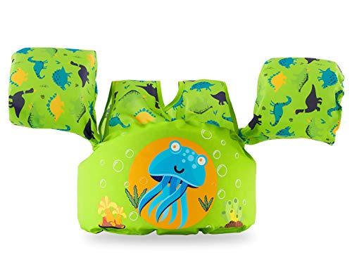 Siran Infant Life Jackets for Kids Baby Swim Float for Toddlers Swim Jacket Green Aceleph Dinosaur]()
