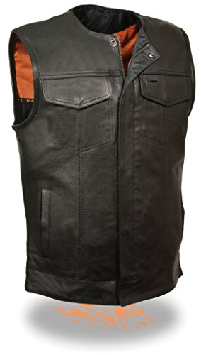 Milwaukee SOA Men's Naked Cowhide Collarless Leather Vest Zipper & Snap Front w/ 2 Inside Gun Pockets & Single Panel Back (X-Large)