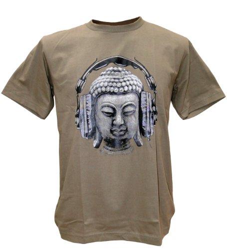Tshirtmystyle Men's Buddha Head Love Music Headphones Peace Man T-Shirt