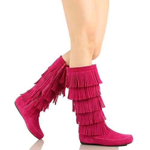 West Blvd Lima - Womens Western Fringe 3-Tier-Mokassin-Flach - Faux Suede Mid Calf Boots Fuchsiav1 Wildleder