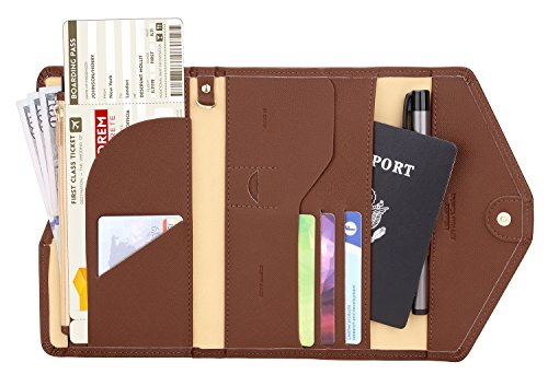 Zoppen Multi-purpose Rfid Blocking Travel Passport Wallet (Ver.4) Tri-fold Document Organizer Holder (#12 Seal Brown)
