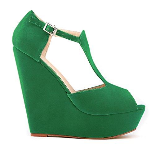 ZriEy Women's Platform Peep Toe Exclusive Wedges High Heels Sandals Shoes Velvet Green Size 6.5