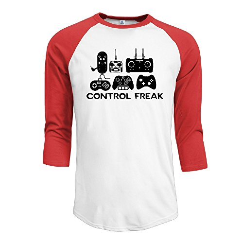 Men Control Freak Video Gamer Funny 3/4 Sleeve Red Small