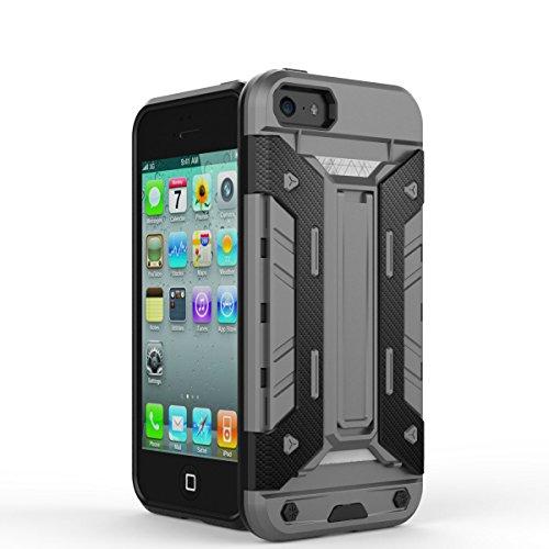 Iphone 5 Coque,Iphone 5S Coque,Iphone SE Coque,Lantier Mech 3 en 1 plastique dur High Impact Hybrid antichoc Mode Combo Full Body avec Béquille Housse de protection pour Apple Iphone 5 5S SE Gris