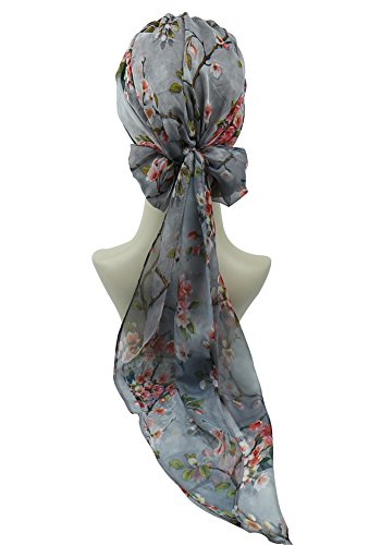 Fashion Scarf Tied (Pre Tied Head Wrap Scarfs Easy Tie Bandana Cotton Bamboo Sleep Cap Medical Gifts for Chemotherapy Women Gray Pink)