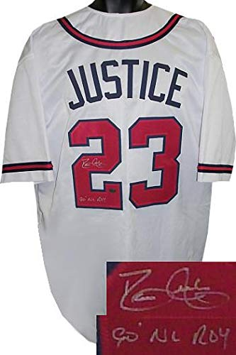 David Justice Signed Jersey - Dave White Custom Stitched 90 NL ROY XL Hologram - JSA Certified - Autographed MLB Jerseys