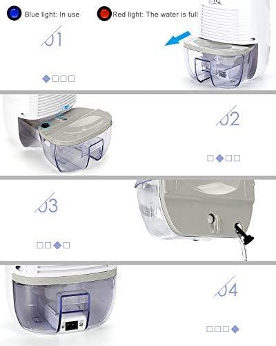 Kasimir Déshumidificateur Mini Absorbeur d'Humidité Déshumidificateur d'air Compact 500 Silencieux Filtre pour l'Humidité et Les Moisissures à la Maison, pour Cuisine, Salle de bainsChambre,Bureau