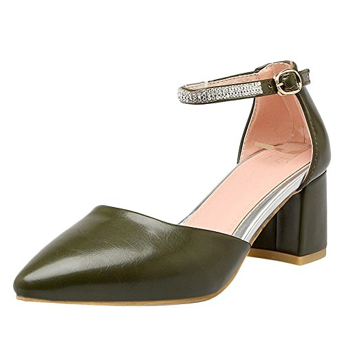 Heel Mee Green Elegant Shoes Court Women's Buckle Shoes Mid Block qrqUYw4
