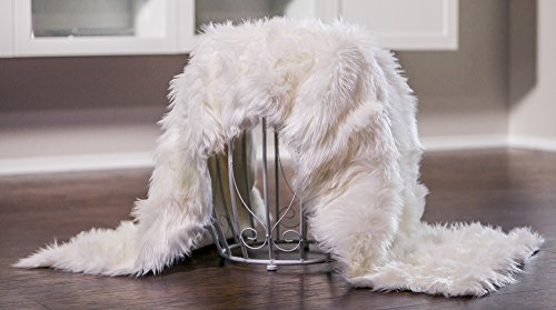 Chanasya Super Soft Faux Fur Fake Sheepskin White Sofa Couch Stool Casper Vanity Chair Cover Rug/Solid Shag Area Rugs for Living Bedroom Floor - Off White 2ftx6ft (Rectangular)