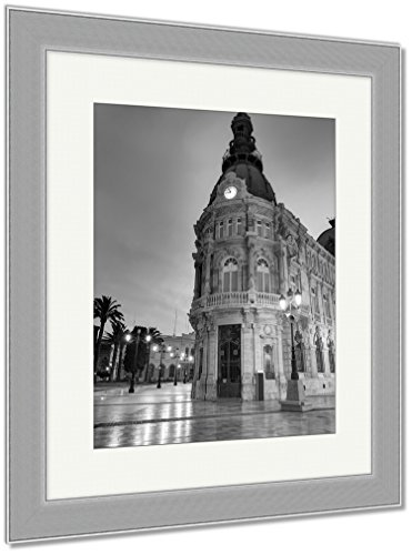 Ashley Framed Prints Ayuntamiento De Cartagena Sunset City Hall At Murcia Spain, Wall Art Home Decoration, Black/White, 35x30 (frame size), Silver Frame, AG5528260 by Ashley Framed Prints
