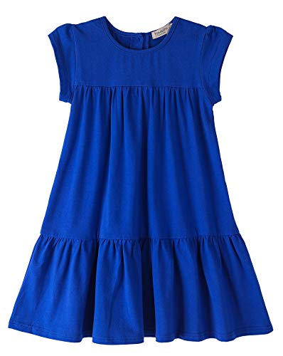 - Youwon Toddler Girls Dress Short Sleeve Solid Color Tunic A-Line Tiered Swing Dress 2-6 7-16 Blue