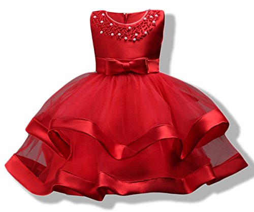 Dress Gown Embroidered Wedding (AYOMIS Girls Lace Bridesmaid Dress Wedding Pageant Dresses Tulle Party Gown Age 3-9Y(Red,5-6Y))