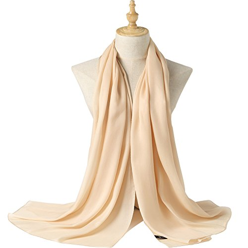 Bellonesc Silk Scarf 100% silk Long Lightweight Sunscreen Shawls for Women (cream colored) -