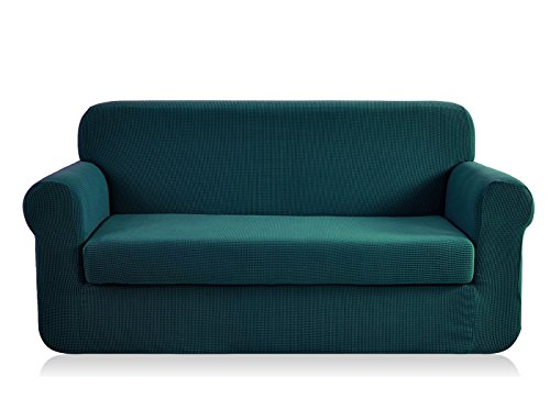 CHUN YI Jacquard loveseat Covers 2-Piece Stretch Polyester Spandex Fabric Couch Slipcover, 2 Seater Sofa Protector (Loveseat, Blue) (Couch Teal Sectional)