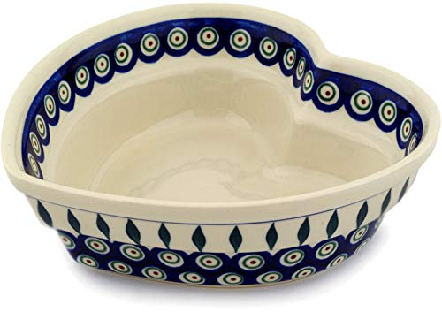 - Polish Pottery 8½-inch Heart Shaped Bowl (Peacock Leaves Theme) + Certificate of Authenticity