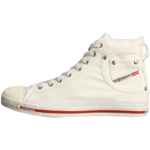 Diesel Exposure Off Weiß Rot Damen Canvas Hi Sneakers Schuhe Stiefel