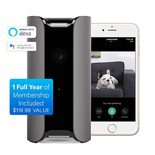 Canary View w/1 Year Membership Plan Included | Indoor 1080p HD Security Camera with Wide-Angle Lens, Motion/Person Alerts, Works with Alexa, Pets/Elder/Baby Monitoring, Award-Winning Design