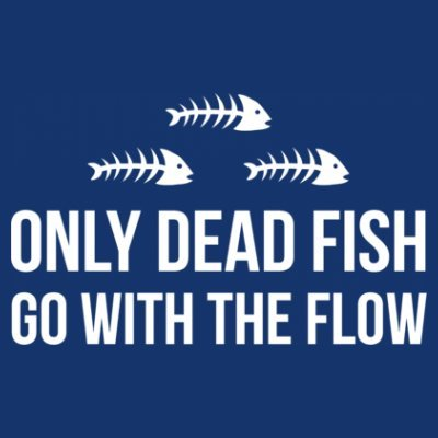 Shirtcity Only Dead Fish Go With The Flow Women's Sweatshirt M Blue