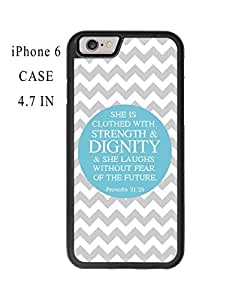 Bible Verse Proverbs 31:25 Grey Chevron Pattern Plastic and TPU Case Cover for iPhone 6 - 4.7 Inch (Laser Technology)