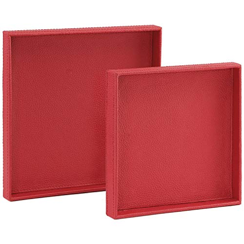(ranslen Pack of 2 Square PU Leather Decorative Serving Tray for Bed/Ottomans/Sofa/Parties, Red)