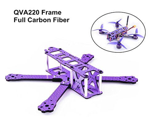 Crazepony QAV220 FPV Racing Drone Frame Carbon Fiber Quadcopter Frame kit Like GEP220 TX5 X210 QAV-X 220 QAV-R 250(Purple)