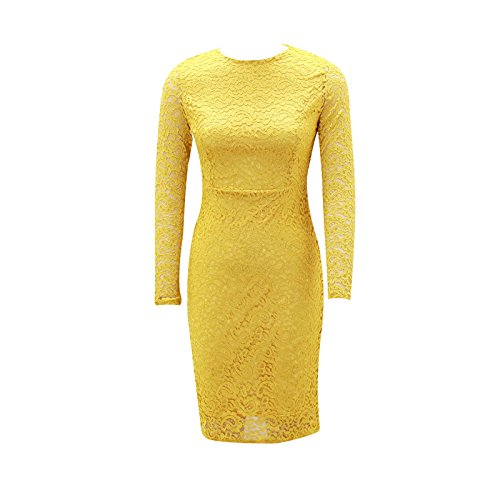 XINGMU Camisa De De Amarillo Cuello O Fiesta De Visten Encaje Completa Mujeres Vestido Vestidos rwqEFR1ar