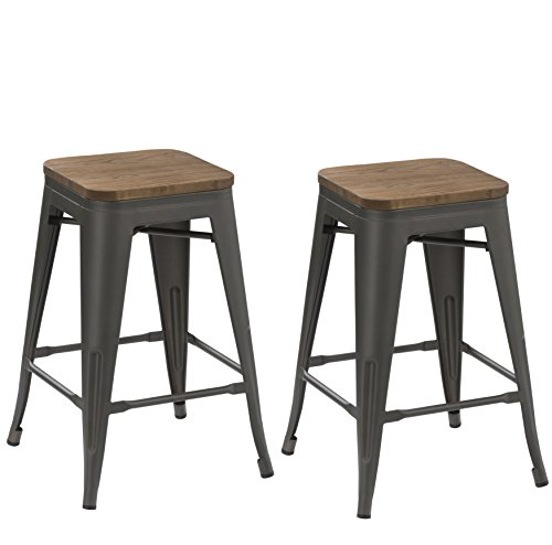BTEXPERT 24-inch Industrial Tabouret Antique Distressed Gunmetal stackable Dining Metal Bar Stools Handmade Wood top seat (Set of Two) - Clear Metal Bar Stool