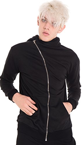Pizoff Mens Unisex Extended Fleece Hooded Long Zipper Windbreaker Black Jacket Y1563-XL