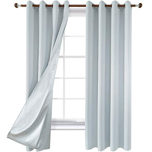- Utopia Decor Greyish White Bedroom Curtains Grommet Blackout Thermal Insulated Curtains with Silver Coating Room Darkening Curtains for Nursery 52W x 84L Inch 1 Pair