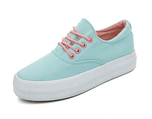 XIE Zapatos de Mujer Zapatos de Lona clásicos Fondo Grueso Pequeños Zapatos Blancos Ocio Movimiento Cómodo Estudiantes Diario Negro Blanco, 36 BLUE-36
