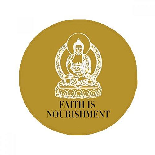 DIYthinker Faith is Mourishment Buddha Quote Buddhism Anti-slip Floor Pet Mat Round Bathroom Living Room Kitchen Door 80cm Gift by DIYthinker