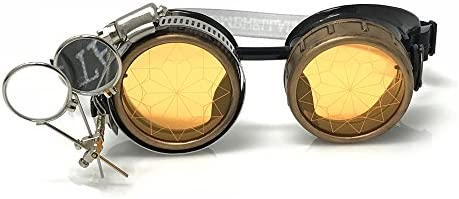 Arsimus Steampunk Goggles with Gears and Lenses Silver