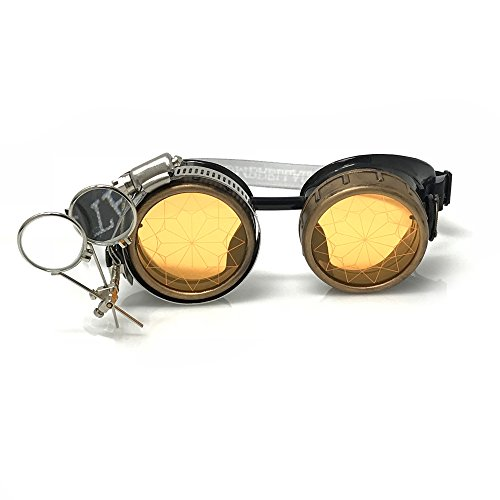 - Steampunk Victorian Style Goggles Rave Glasses with Compass Design and Double Ocular Loupe Neon Orange