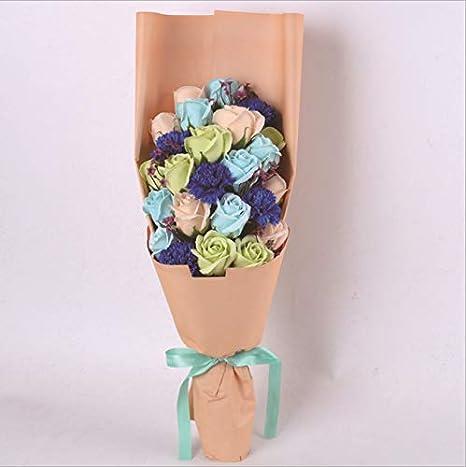 Dessin Anime Bouquet Artificiel Savon Rose Fleur En Peluche Jouet Point Bouquets Fleur Graduation Saint Valentin Cadeaux 58x25x12 Cm Bleu Royal Amazon Fr Bebes Puericulture